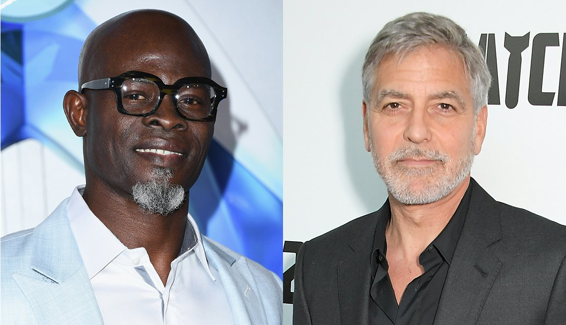 item 7, Gallery image. Dijimon Hounsou  shaved head, cool white shirt and pale blue jacket, bold black glasses, goatee; George Clooney in charcoal suit, black shirt.