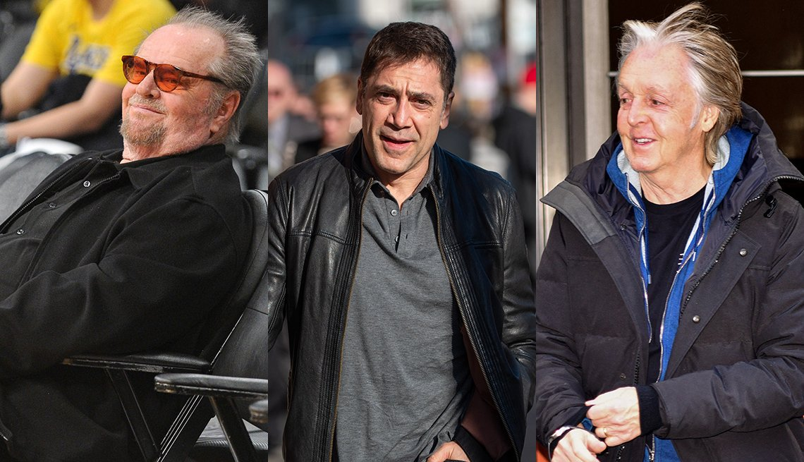 item 12, Gallery image. Jack Nicholson in black shirt and bomber jacket with orange tinted glasses; Javier Bardem in black leather moto jacket, grey polo shirt, black jeans; Paul McCartney in black T-shirt, blue hoodie and puffer.