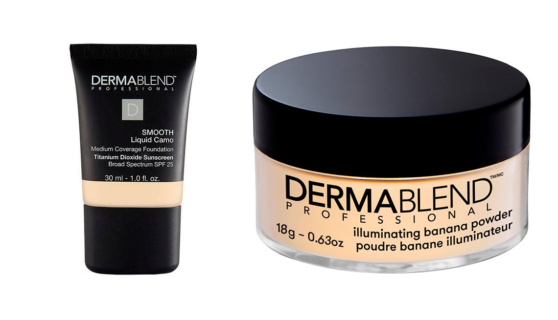 item 4, Gallery image. Dermablend Smooth Liquid Camo Foundation; Dermablend Illuminating Banana Powder