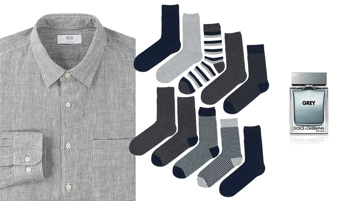 item 6, Gallery image. Uniqlo Men Premium Linen Long- Sleeve Shirt; 10-Pack Socks in Gray/ Blue; Dolce & Gabbana The One Grey Eau de Toilette