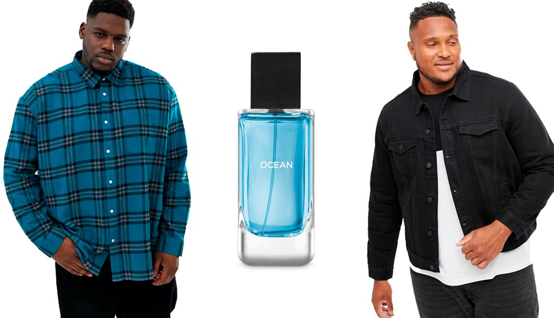 item 21, Gallery image. Asos Collusion Plus  Check Over Shirt; Bath& Body Works Ocean Cologne; Asos Men New Look Plus Denim Western Jacket in Black