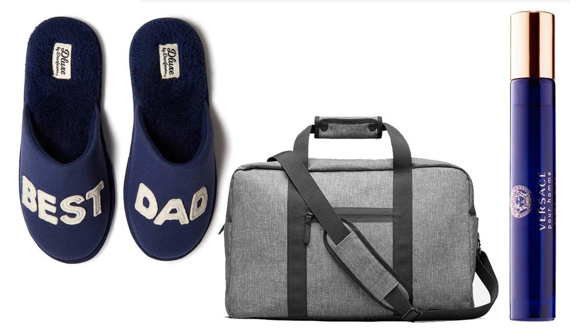 Mens dluxe by Dearfoams Best Dad Slide Slippers in Navy; Everlane The Nylon Weekender in Grey Crosshatch; Versace Dylan Blue Travel Spray