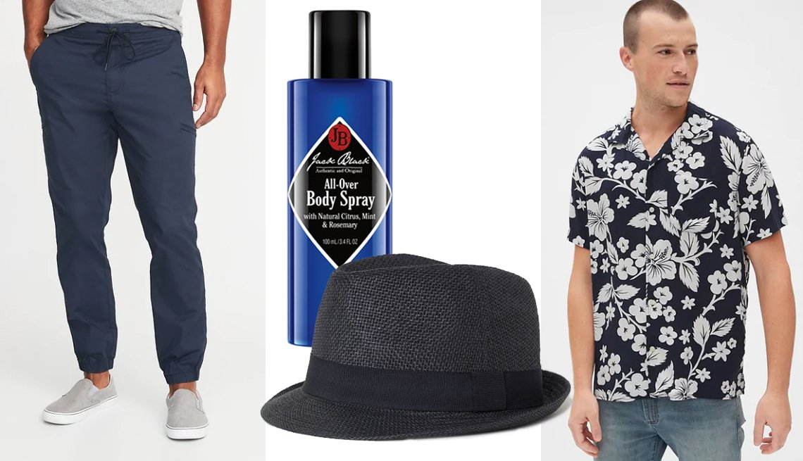 item 13, Gallery image. Old Navy Built-In Flex Dry Quick Ripstop Utility Joggers for Men; Jack Black All Over Body Spray with Natural Citrus, Mint & Rosemary; H&M Men Straw Hat in Black; Gap Print Camp Shirt in Navy Floral