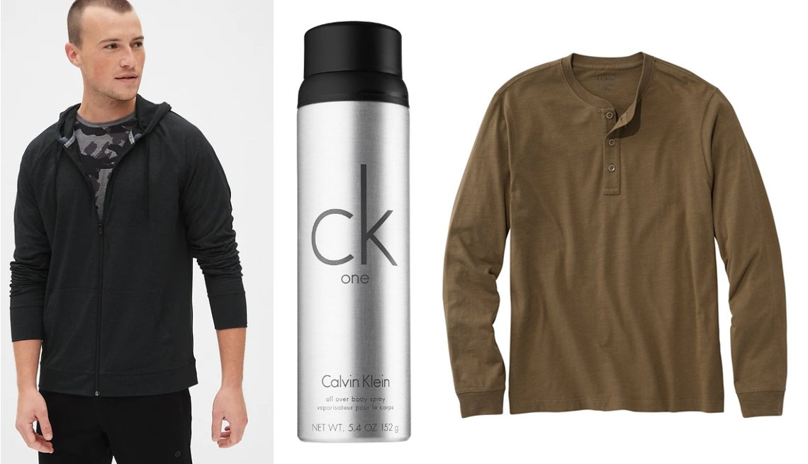 item 2, Gallery image. GapFit Brushed Tech Jersey Full-Zip Hoodie in True Black or Charcoal; Calvin Klein ck One AllOver Body Spray; L.L.Bean Lakewashed Organic Cotton Shirt Long Sleeve Henley