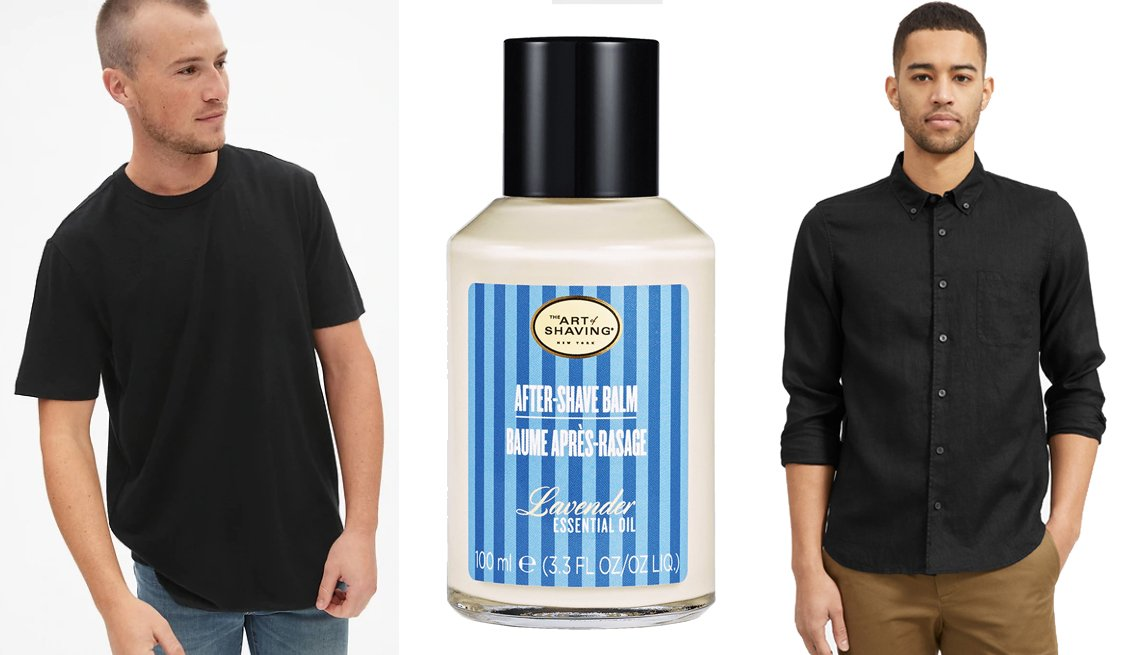 item 19, Gallery image. Gap Crewneck T-Shirt in Linen- Cotton in True Black; The Art of Shaving After-Shave Balm in Lavender; Everlane The Linen Standard Fit Shirt in Black
