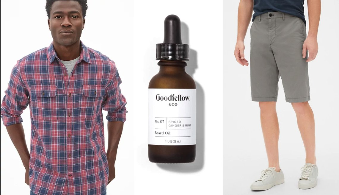 "item 17, Gallery image. Gap Plaid Work Shirt in Slub Cotton; Goodfellow & Company No7 Spiced Ginger & Rum Beard Oil; Gap Wearlight 12"" Khaki Shorts in Smoking Grey"