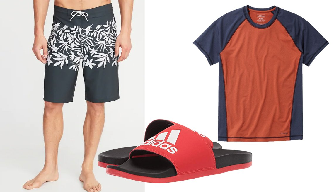 item 10, Gallery image. Old Navy Built-In Flex Board Shorts with 10 Inch Inseam; Adidas Adilette Cloudfoam Plus Logo Slides in Active Red; L.L. Bean UPF50+ Sun Shirt Color Block