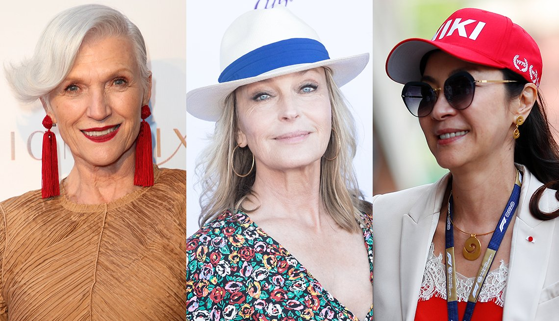 item 12, Gallery image. Maye Musk in red tassel earrings; Bo Derek in straw hat and hoops; Michelle Yeoh in red baseball cap, white blazer, red camisole