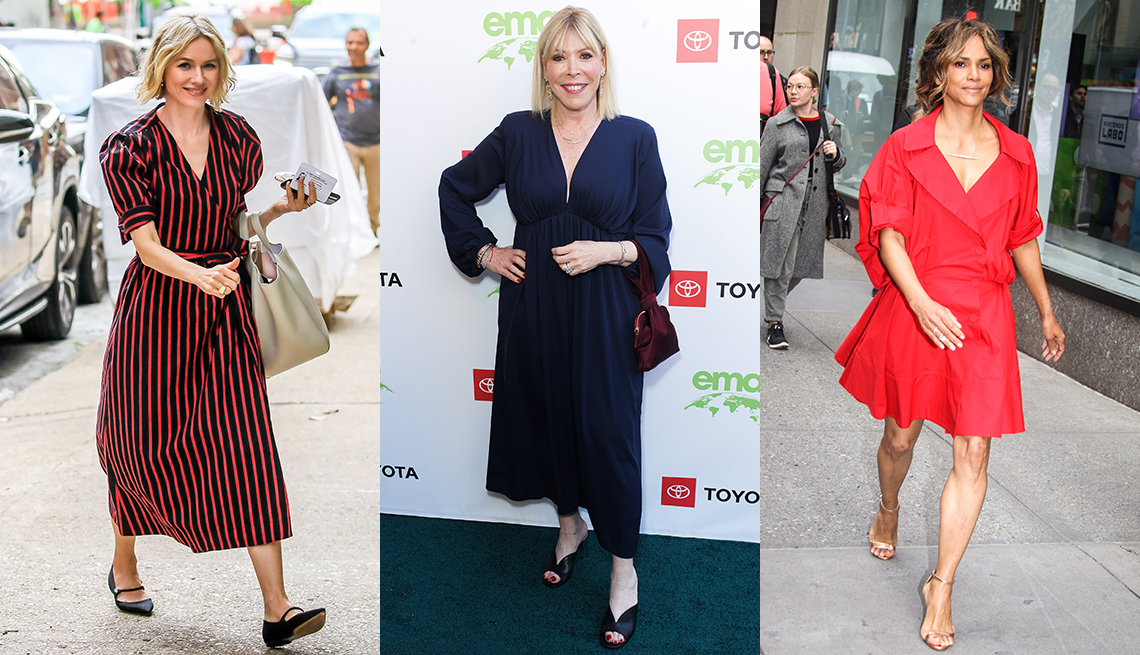 item 5 of Gallery image - Naomi Watts in navy and red striped midi shirtdress; Debbie Levin in navy empire flow-y midi dress and mules; Halle Berry in an above the knees loose red shirtdress
