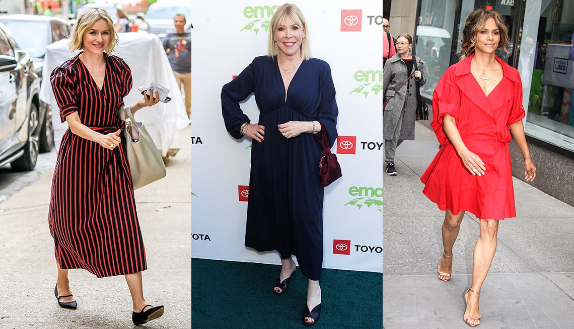 item 5, Gallery image. Naomi Watts in navy and red striped midi shirtdress; Debbie Levin in navy empire flowy midi dress and mules; Halle Berry in an above the knees loose red shirtdress