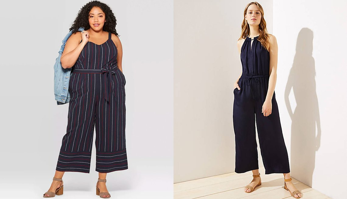 item 8, Gallery image. Ava & Viv Plus Size Tie-Waist Jumpsuit in Navy; Loft Keyhole Halter Jumpsuit in Forever Navy