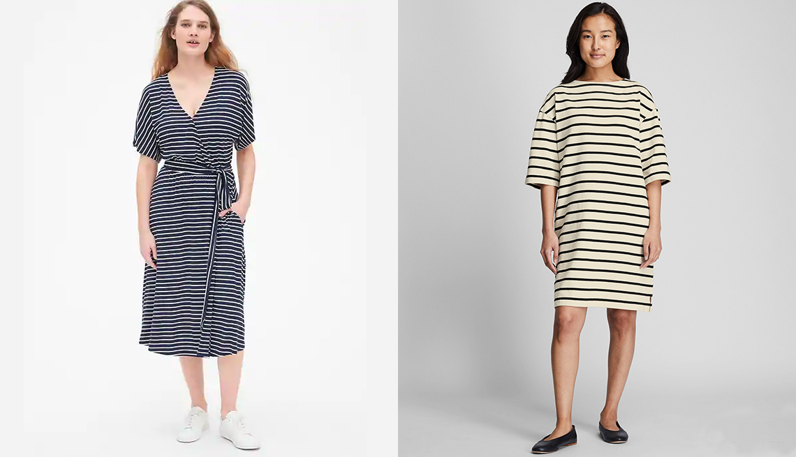 item 11 of Gallery image - Gap Kimono Sleeve Wrap Dress in Navy Stripe; Uniqlo Women Striped Boatneck Half-Sleeve Dress