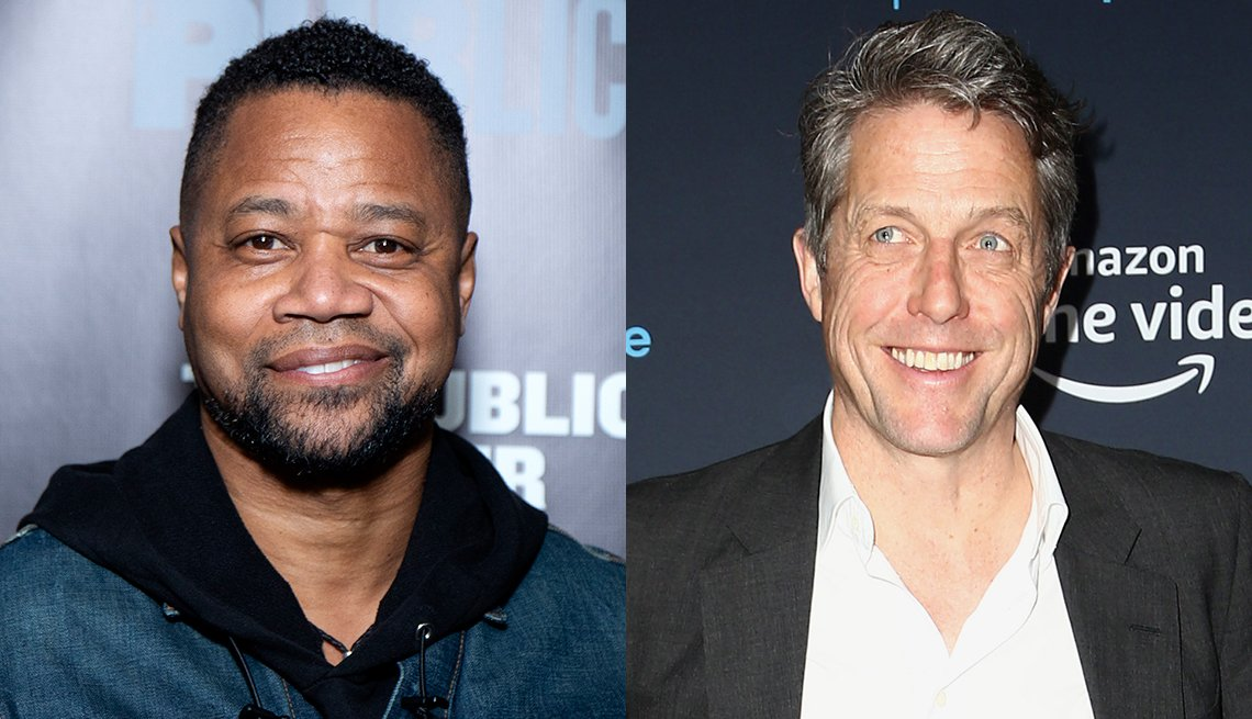 item 1, Gallery image. Cuba Gooding Jr. in black hoodie under a denim jeans jacket; Hugh Grant in charcoal blazer, white button down.