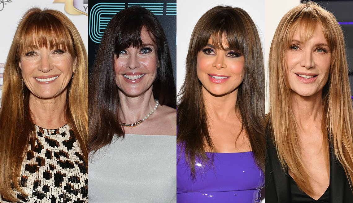 item 5, Gallery image. Jane Seymour has reddish-blond highlights and full bangs; Carol Alt has updated her long hair with full bangs; Paula Abdul has long brunette hair with a fringe; Kelly Lynch has long blonde hair and full bangs