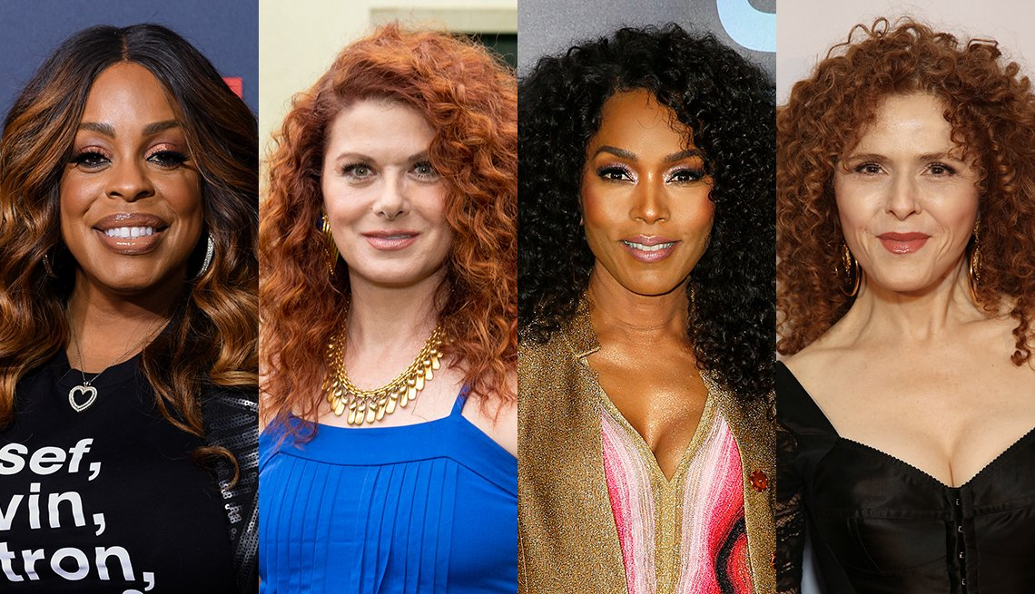 item 7, Gallery image. Niecy Nash in long styled ombre waves; Debra Messing wears her red long hair curly with a side part; Angela Bassett has a huge mane of curls with natural texture; Bernadatte Peters in sassy red, long ringlets
