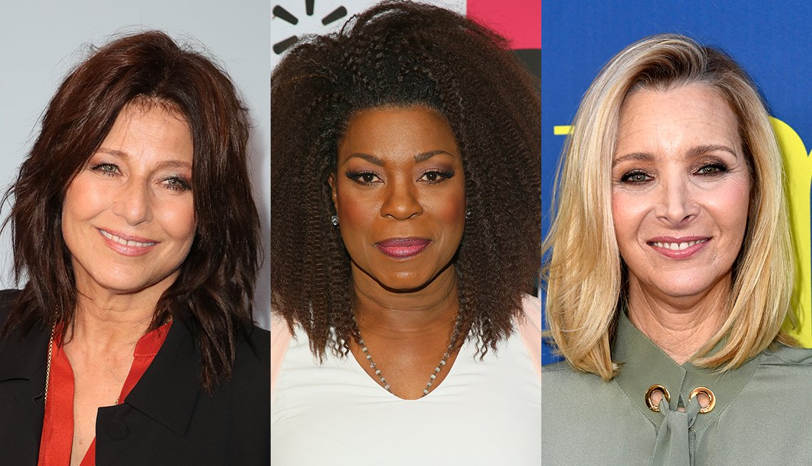 item 1 of Gallery image - Catherine Keener 's lob has piece-y ends and subtle spicy streaks; Lorraine Toussaint has a natural texture shoulder skimming lob; Lisa Kudrow wears her shoulder grazing lob with a side-part swoop