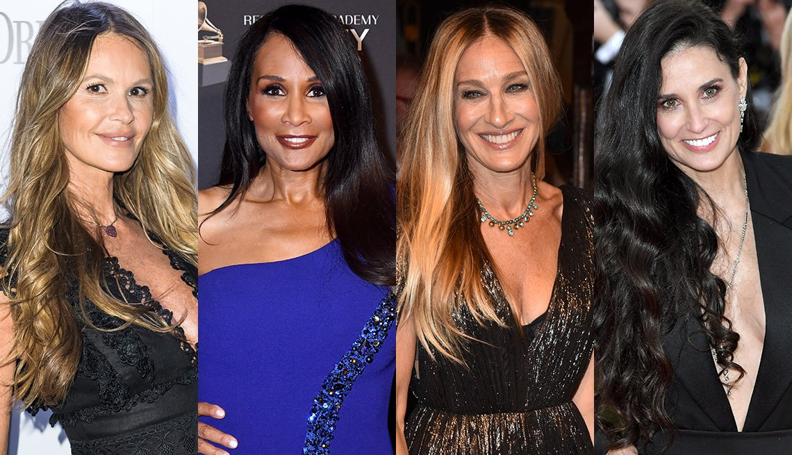 Elle Macpherson in extreme long blonde hair; Beverly Johnson has extra long rich dark hair; Sarah Jessica Parker in  long  center parted hair; Demi- Moore has waist length long dark lush locks