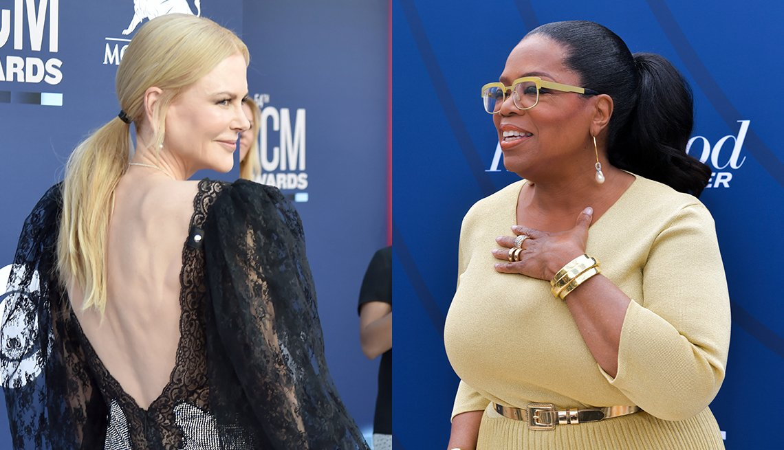 item 8, Gallery image. Nicole Kidman pulls it back in a low ponytail for quick variation;  Oprah pulls her dark brunette-black hair back into a high thick ponytail, with usual statement glasses in bright yellow