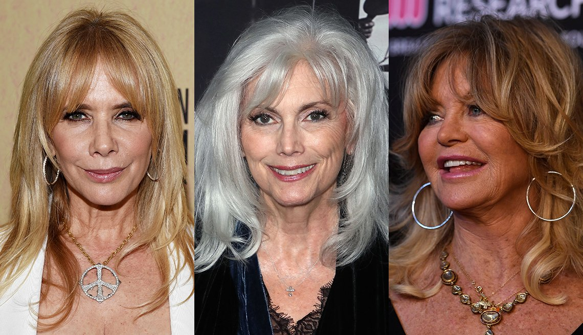 item 4, Gallery image. Rosanna Arquette  frames her face with loose easy hair and full bangs; Emmylou Harris relies on layers and soft bangs to make gray sexy; Goldie Hawn still rocks her  shaggy layers and bangs signature look