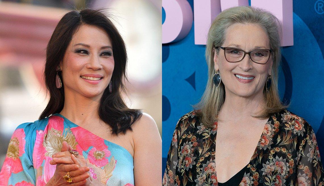 item 3, Gallery image. Lucy Liu lleva un peinado de lado sofisticado y añade aretes colgantes; Meryl Streep (que siempre ha usado cabello largo) prefiere un estilo alejado del rostro.