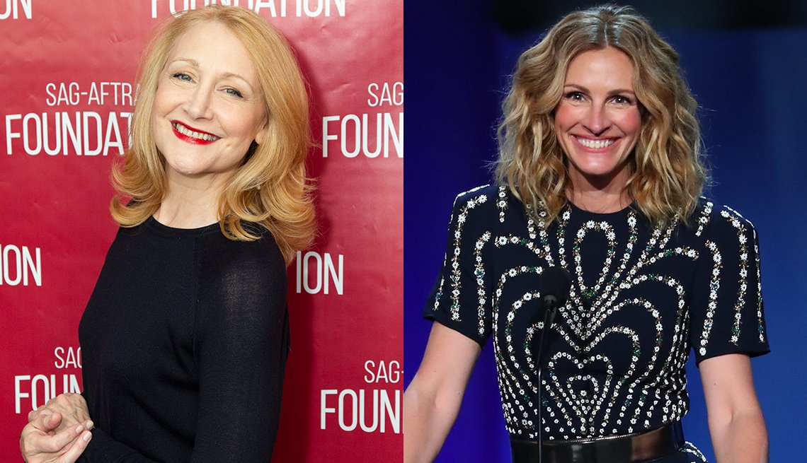 item 2, Gallery image. Patricia Clarkson in shoulder grazing lob with layered, flippy ends; Julia Roberts' wavy  lob is on trend