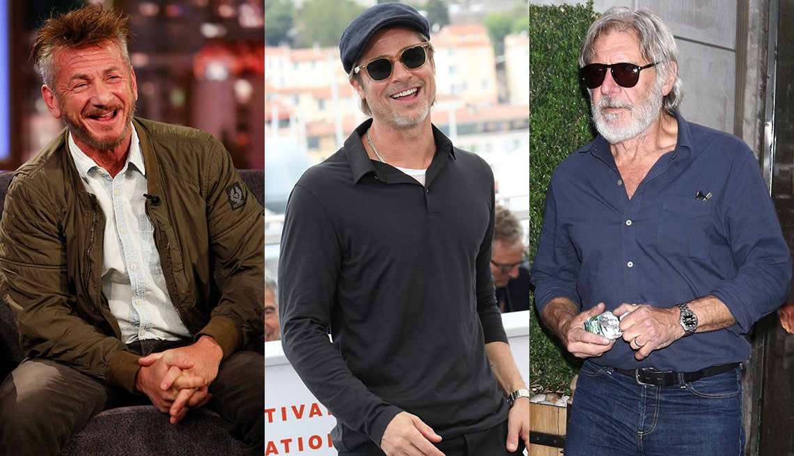 item 3, Gallery image. Sean Penn in khaki bomber, white button-down and brown cords; Brad Pitt in black cap, black long sleeve polo over a white T-shirt with black pants and sunglasses; Harrison Ford in charcoal blue shirt, blue jeans.