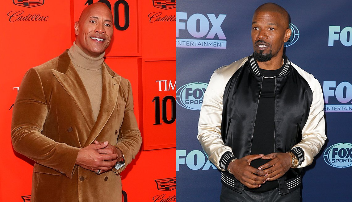 item 14, Gallery image. Dwayne Johnson in  head-to-toe- camel- turtleneck, suit; Jamie Foxx in black T-shirt, white and black bomber jacket, black waxed jeans.