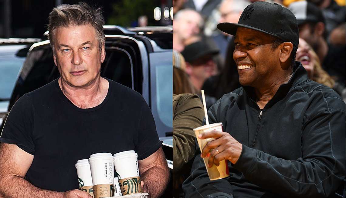 item 16, Gallery image. Alec Baldwin in black T-shirt, black pants; Denzel Washington in black baseball cap and athleisure top.