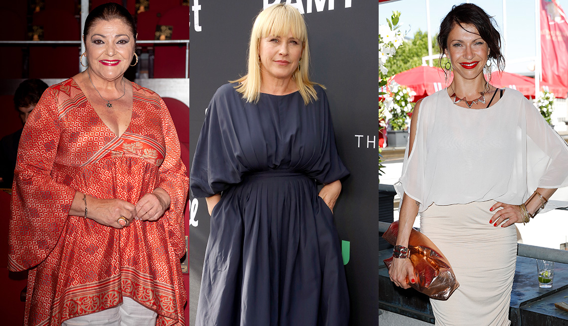 item 11 of Gallery image - Charo Reina in dramatic bell sleeved tunic; Patricia Arquette in gray midi dress with full bishop elbow sleeves; Jana Pallaske in sheer white dolman sleeve dress
