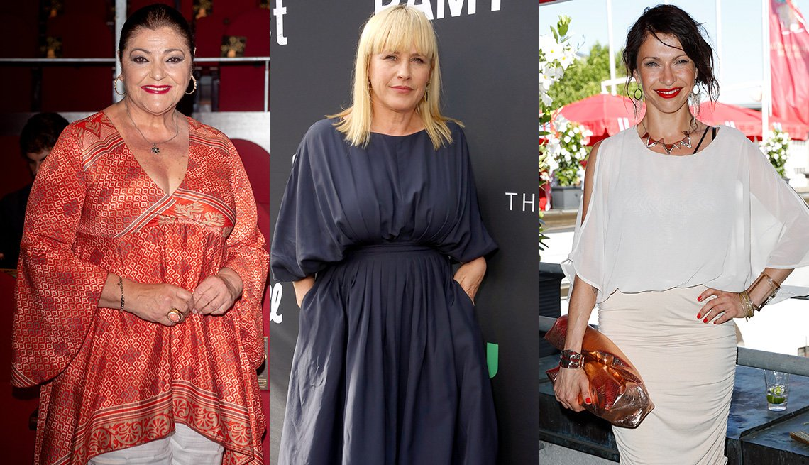 item 11, Gallery image. Charo Reina in dramatic bell sleeved tunic; Patricia Arquette in gray midi dress with full bishop elbow sleeves; Jana Pallaske in sheer white dolman sleeve dress