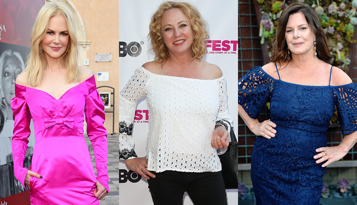 item 10, Gallery image. Nicole Kidman in bold pink off-shoulder dress with ruched sleeves; Virginia Madsen in off-shoulder white blouse with trumpet long sleeves; Marcia Gay Harden in off-shoulder blue eyelet dress with full elbow sleeves