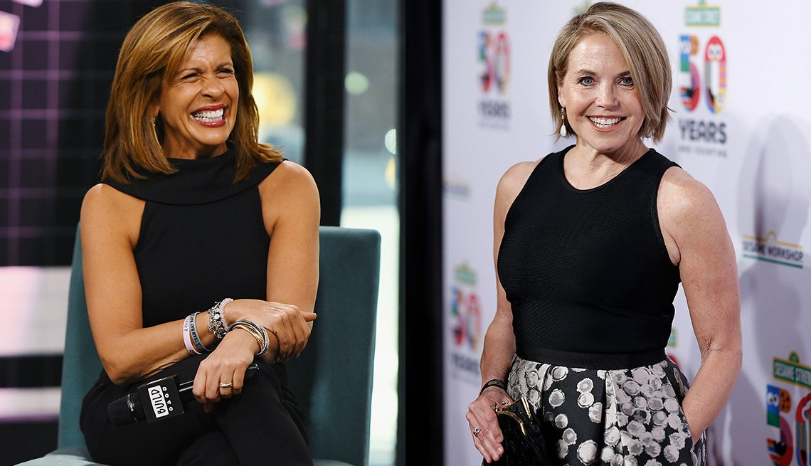 item 3, Gallery image. Hoda Kotb in a sleeveless black jumpsuit cut in at armholes; Katie Couric in a high-neck black tank with cut in straps and print midi skirt