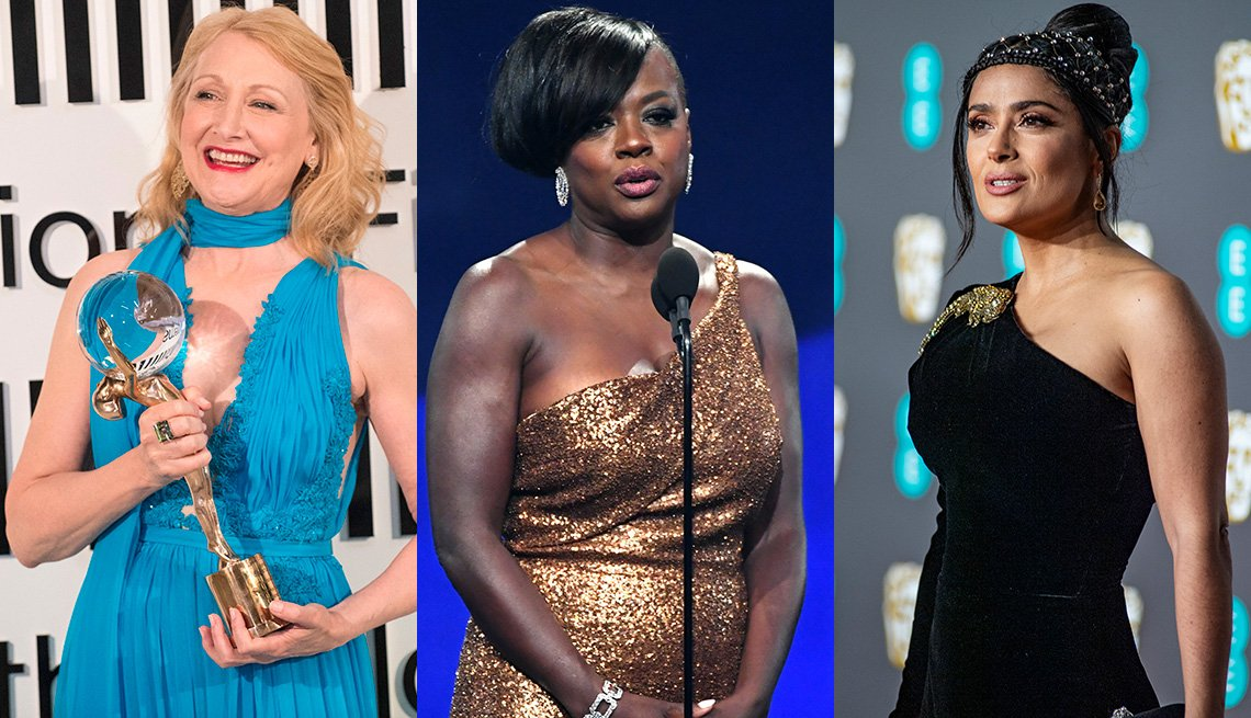 item 2, Gallery image. Patricia Clarkson in a turquoise halter gown; Viola Davis in gold one-shoulder sleeveless gown; Salma Hayek in a one-sleeve asymmetric neck gown