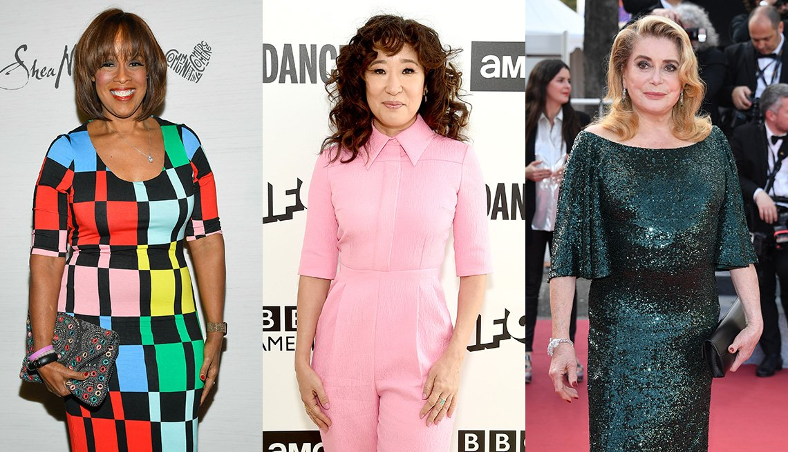 item 8, Gallery image. Gayle King in elbow sleeves and geometric print dress; Sandra Oh in pink elbow sleeve tailored jumpsuit; Catherine Deneuve in elbow length swingy sleeved sequin gown