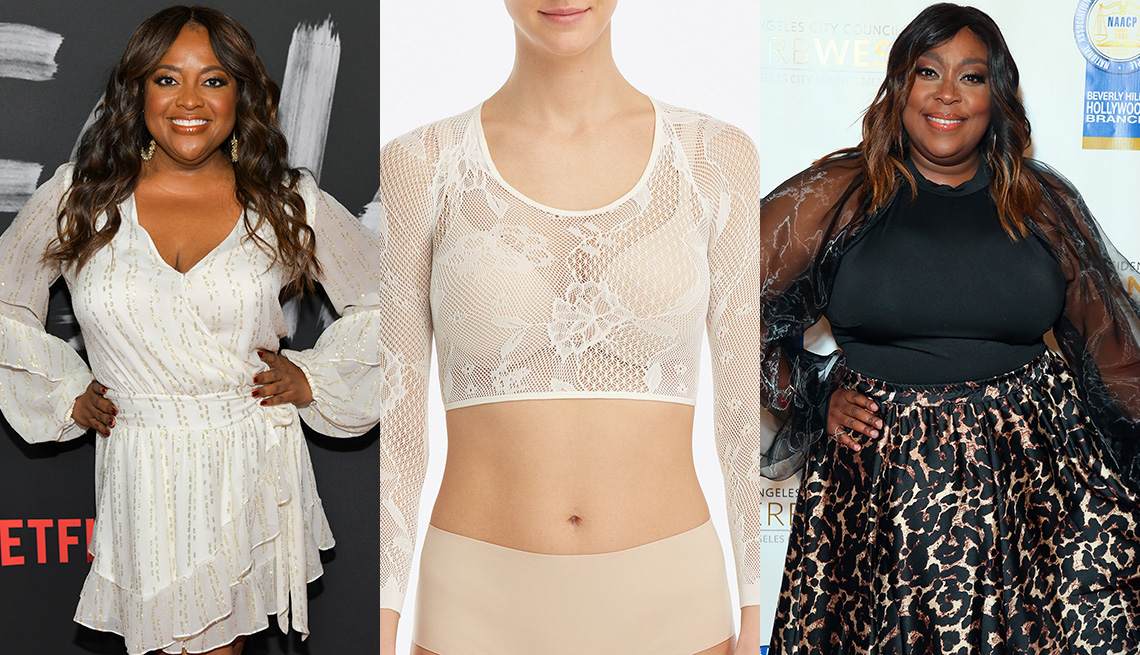 item 5 of Gallery image - Sherri Shepherd in a white dress with billow-y bishop sleeves; Spanx Arm Tights in white; Loni Love in a black top with sheer long bishop sleeves