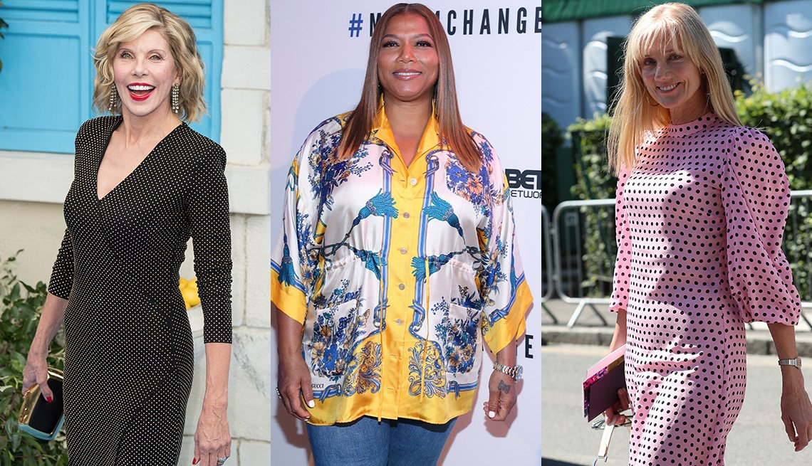 item 9, Gallery image. Christine Baranski in narrow three-quarter sleeve fitted jersey dress; Queen Latifah in three-quarter sleeve silk print tunic over jeans; Joely Richardson in pink dotted dress with full three-quarter sleeves
