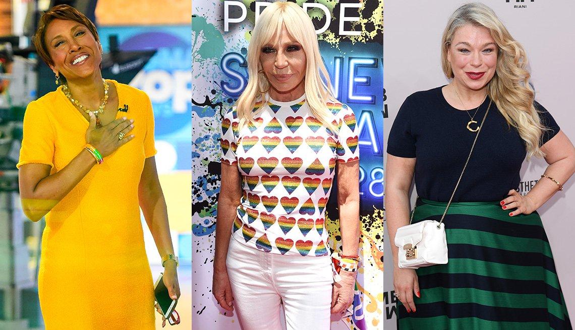 item 6, Gallery image. Robin Roberts usa un vestido tipo camiseta en amarillo fuerte; Donatella Versace en una camiseta con corazones; Caterina Pogorzelski lleva una camiseta de manga corta azul marino y una falda de rayas.