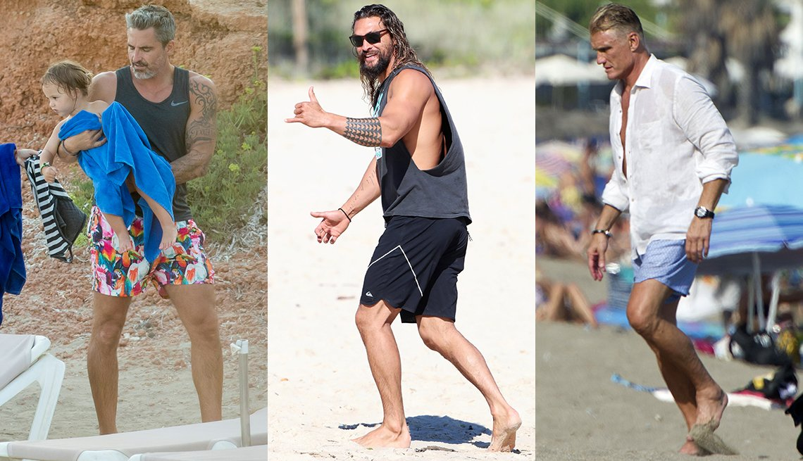 item 8, Gallery image. Dolph Lundgren, right, a white shirt and swimsuit; Jason Momoa, center, in black cutaway tank and board shorts; Nicolas Paladini in black muscle tank with print shorts