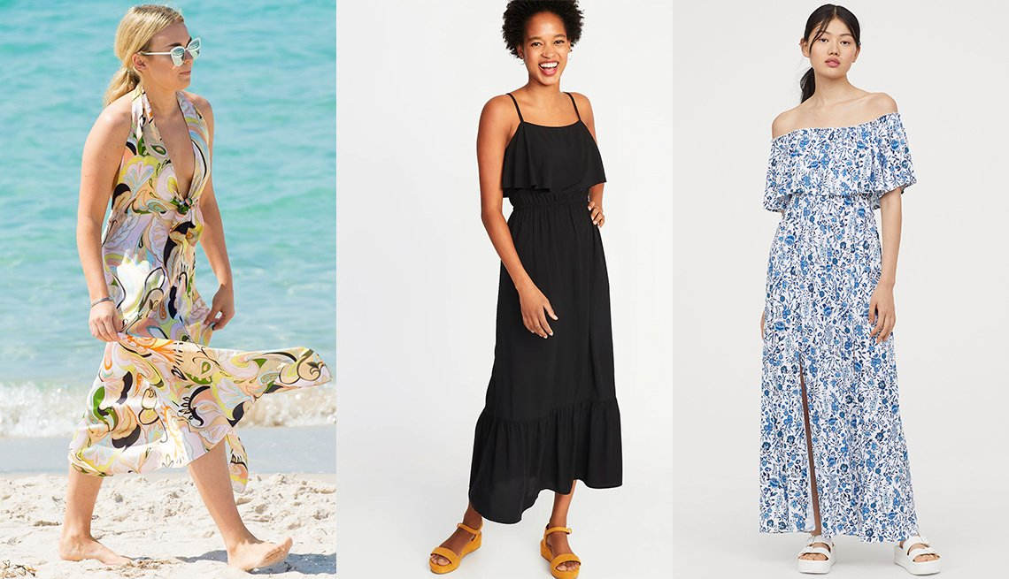 item 6, Gallery image. Tallia Storm beach walk; H&M Long Dress With Flounce; Old Navy Ruffle-Tiered Waist-Defined Maxi