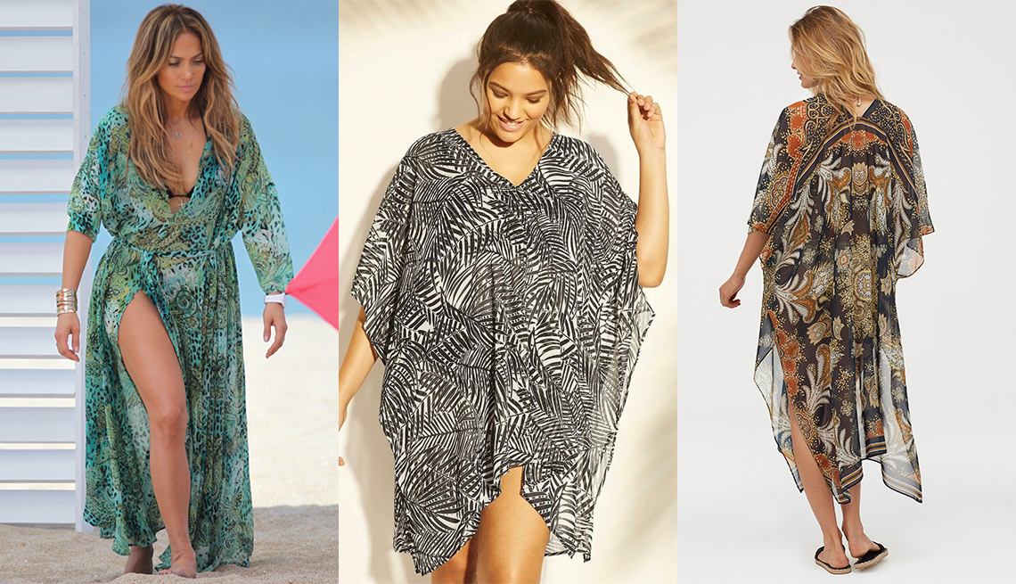 item 3 of Gallery image - Jennifer Lopez in a print chiffon caftan at the beach; Cover 2 Cover Black/ White Caftan Cover Up; H & M Kaftan With Buttons