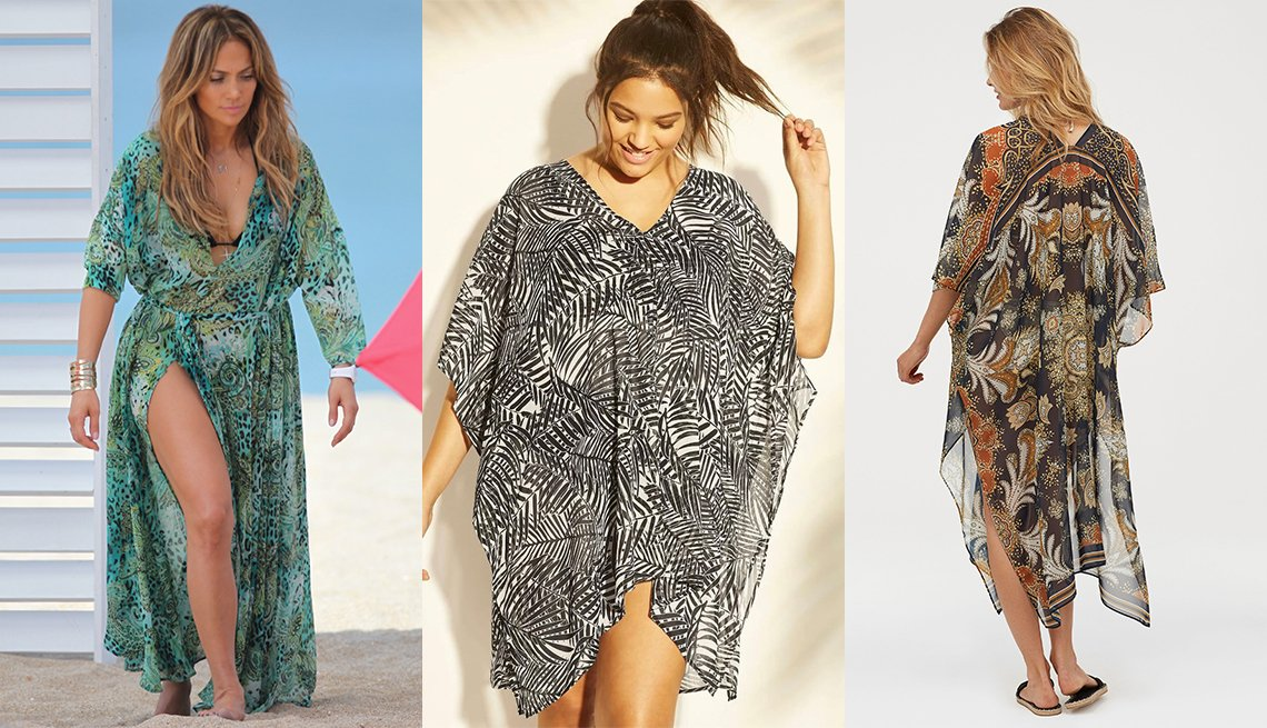 item 3, Gallery image. Jennifer Lopez in a print chiffon caftan at the beach; Cover 2 Cover Black/White Caftan Cover Up; H&M Kaftan With Buttons