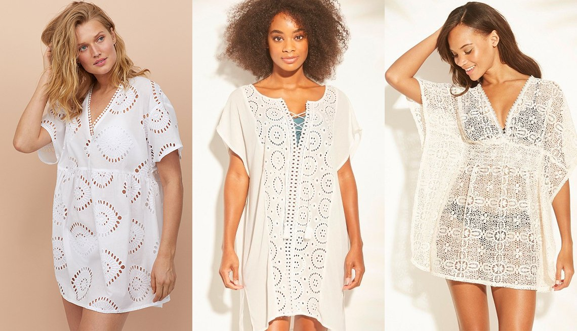 item 7, Gallery image. H&M Cotton Beach Dress in white; Kona Sol Lace-Up Eyelet Cover Up Dress in white; Xhilaration Crochet Cut Out Back Cover Up Dress in white