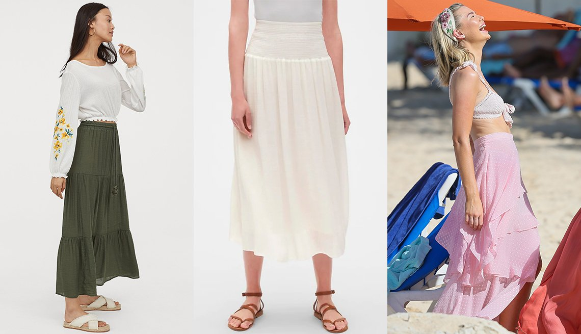 item 4, Gallery image. H&M Long Skirt; Gap Smocked Waist Midi Skirt; Georgia Toffolo in pink tiered maxi skirt over a two-piece suit