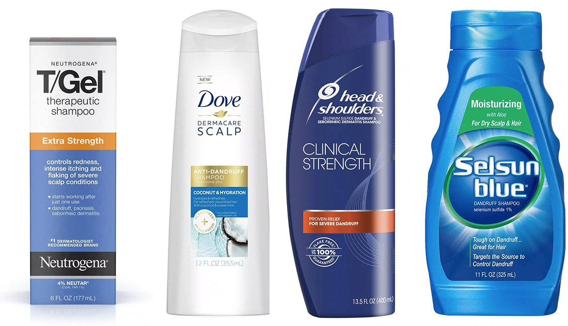 item 8, Gallery image. Neutrogena T/ Gel Extra Strength Therapeutic Shampoo  with 1 % coal tar; Dove Dermacare Scalp Dandruff Shampoo with pyrtihione zinc; Head & Shoulders Clinical Strength Dandruff Shampoo with pyrtihione zinc; Selsun Blue Moisturizing Dandruff Shampoo with s
