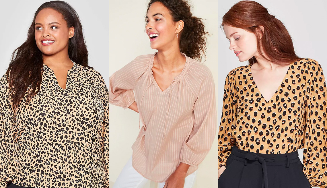 item 11, Gallery image. Ava & Viv Plus-Size Animal Print Long Sleeve V-Neck Popover Top; Old Navy Ruffled Tie-Neck Shadow Stripe Blouse; A New Day Animal Print Regular Fit Long Sleeve V-Neck Blouse