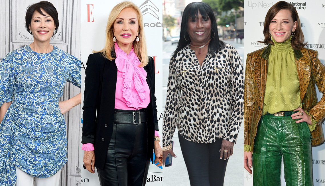 item 10, Gallery image. Ann Curry in blue print tunic blouse over white pants; Carmen Lomana in black tailored blazer, black leather pants and ruffled pink blouse; Kiki Shepard in animal print blouse, slim pants and sneakers; Cate Blanchett