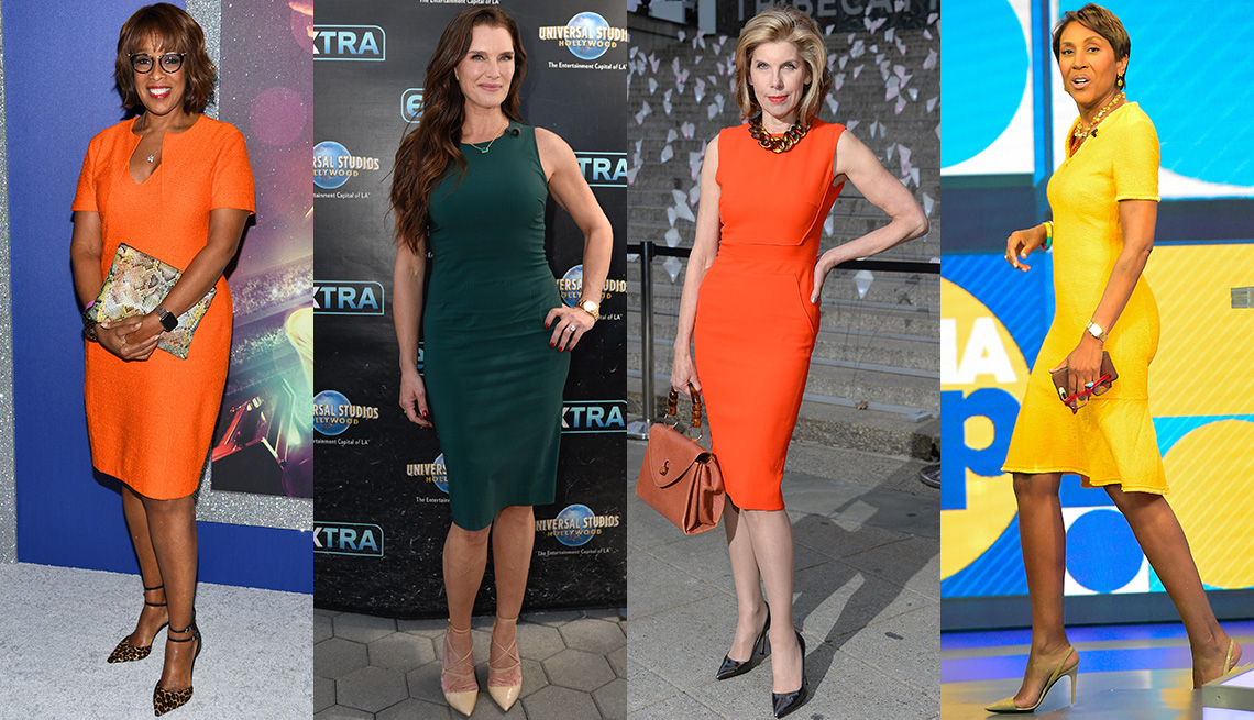 item 7, Gallery image. Gayle King in orange dress and leopard shoes; Brooke Shields in green high neck sleeveless dress; Christine Baranski in tailored orange sheath dress, gold chain link statement necklace; Robin Roberts in yellow dress