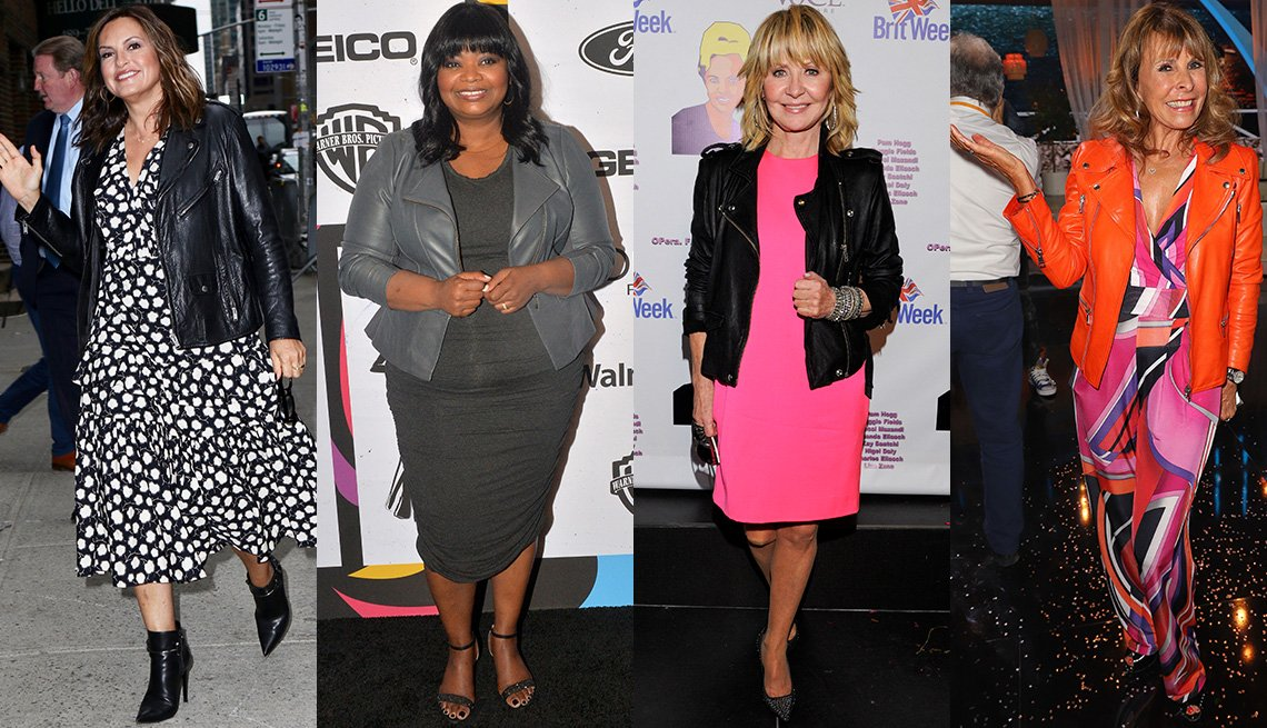 item 8, Gallery image. Mariska Hargitay in midi dress, leather biker jacket and booties; Octavia Spencer pairs a gray leather blazer, knit dress and sandals; Lulu in pink dress and biker jacket with pumps; Ireen Sheer in orange biker over print dress