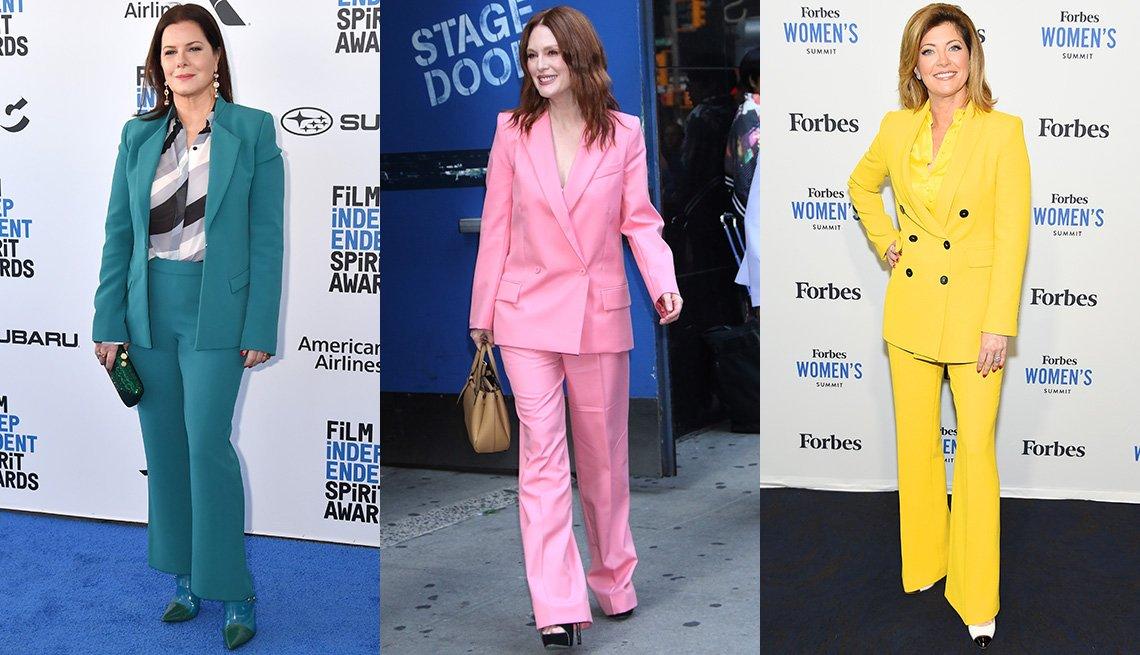 item 3, Gallery image. Marcia Gay Harden con traje sastre azul verde y blusa estampada; Julianne Moore con traje sastre rosa; Norah O'Donnell con traje sastre amarillo.