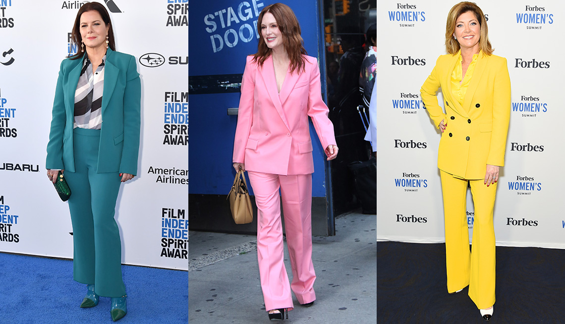 item 3 of Gallery image - Marcia Gay Harden in teal blue pantsuit, print blouse; Julianne Moore in pink pantsuit; Norah O' Donnell in yellow pantsuit